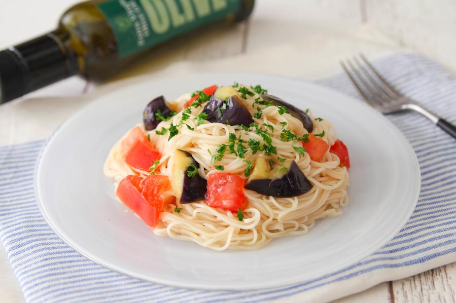 そうめんでトマトとなすのカッペリーニ風