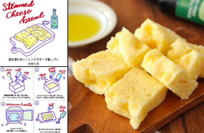 ホットケーキミックスで簡単! レンジ3分で「ふわふわチーズ蒸しパン」